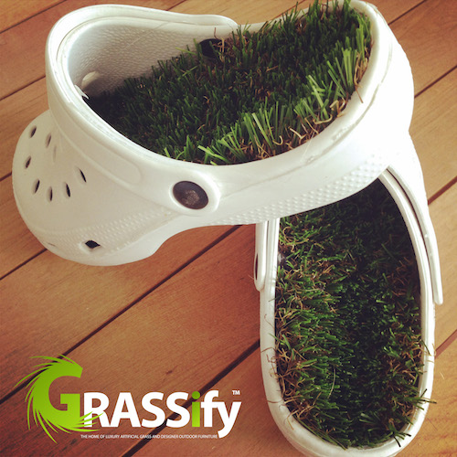 Grass covered crocs? We're flipping our flops, GRASSifying crocs, and green-defining the waistcoat too!